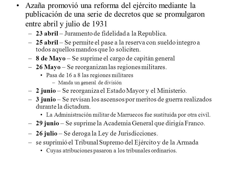 Azaña promovió una reforma del ejército mediante la publicación de una serie de decretos que se promulgaron entre abril y julio de 1931