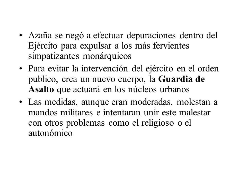 Azaña se negó a efectuar depuraciones dentro del Ejército para expulsar a los más fervientes simpatizantes monárquicos