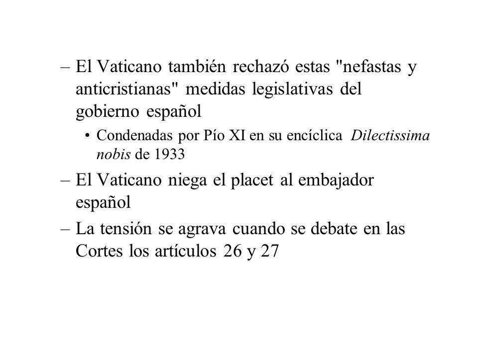 El Vaticano niega el placet al embajador español
