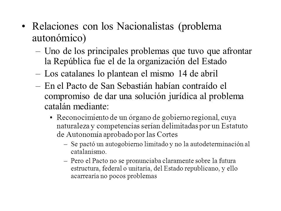 Relaciones con los Nacionalistas (problema autonómico)