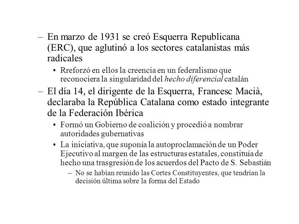 En marzo de 1931 se creó Esquerra Republicana (ERC), que aglutinó a los sectores catalanistas más radicales