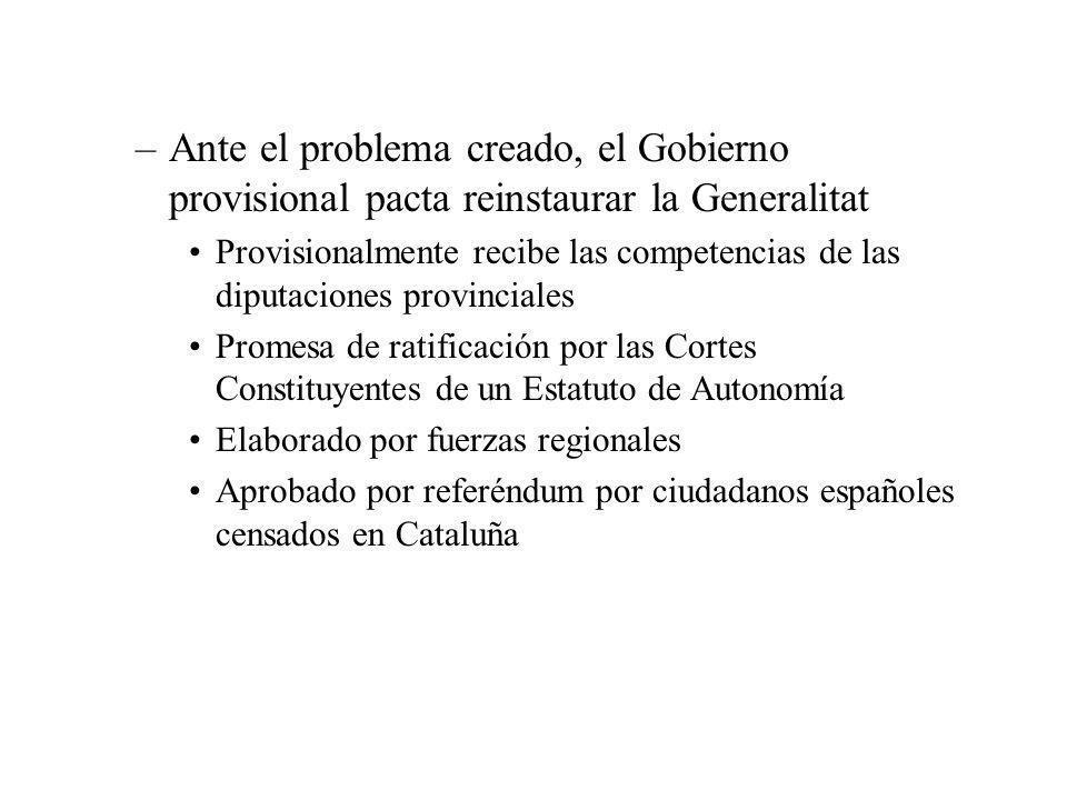 Ante el problema creado, el Gobierno provisional pacta reinstaurar la Generalitat