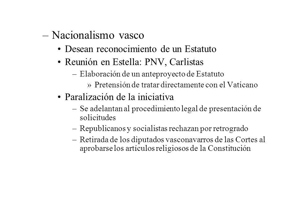 Nacionalismo vasco Desean reconocimiento de un Estatuto