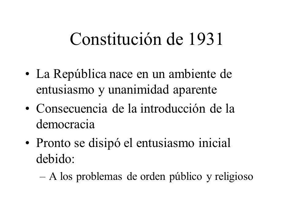 Constitución de 1931 La República nace en un ambiente de entusiasmo y unanimidad aparente. Consecuencia de la introducción de la democracia.