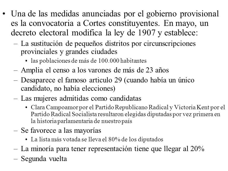 Una de las medidas anunciadas por el gobierno provisional es la convocatoria a Cortes constituyentes. En mayo, un decreto electoral modifica la ley de 1907 y establece: