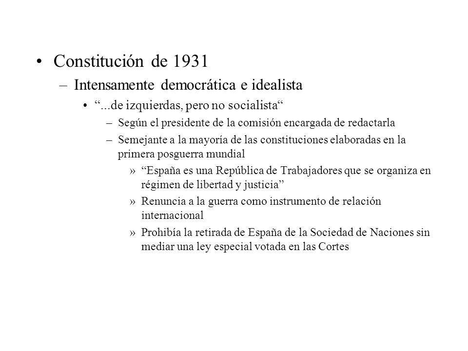 Constitución de 1931 Intensamente democrática e idealista