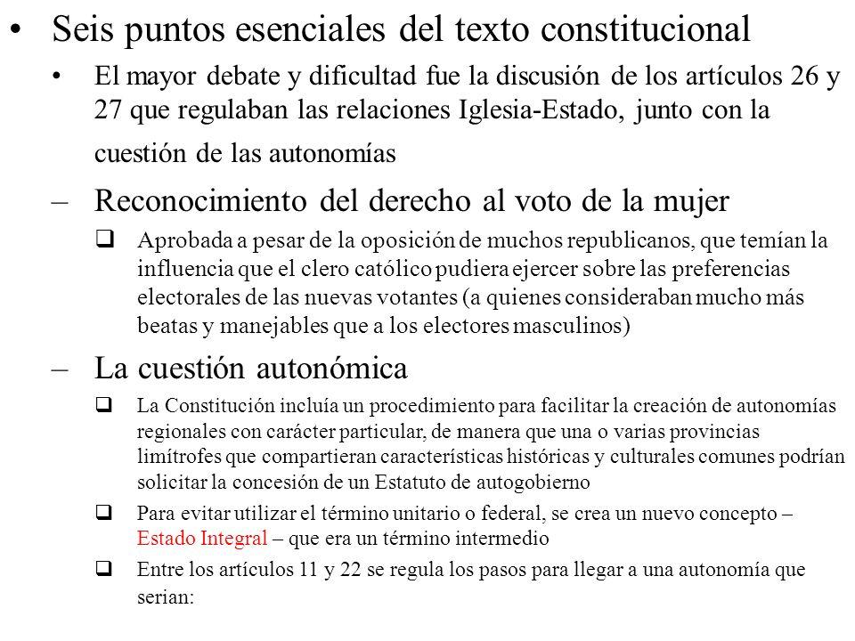 Seis puntos esenciales del texto constitucional