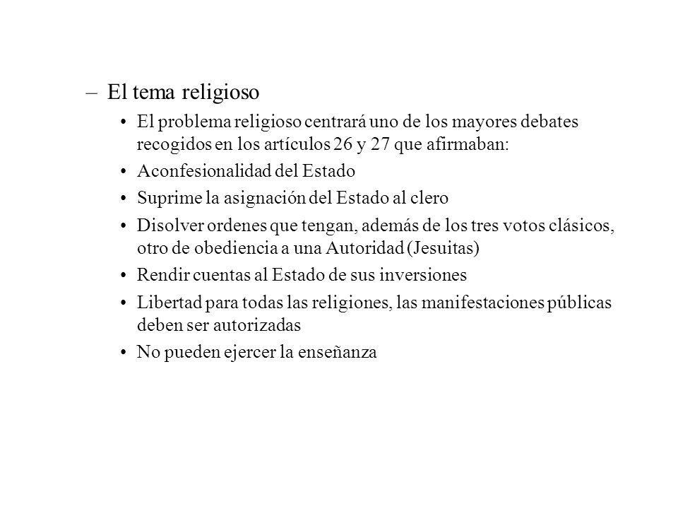El tema religioso El problema religioso centrará uno de los mayores debates recogidos en los artículos 26 y 27 que afirmaban: