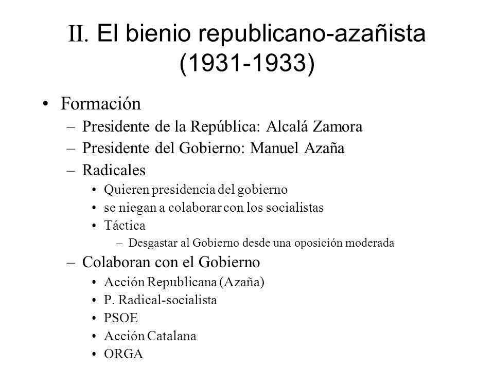 II. El bienio republicano-azañista (1931-1933)