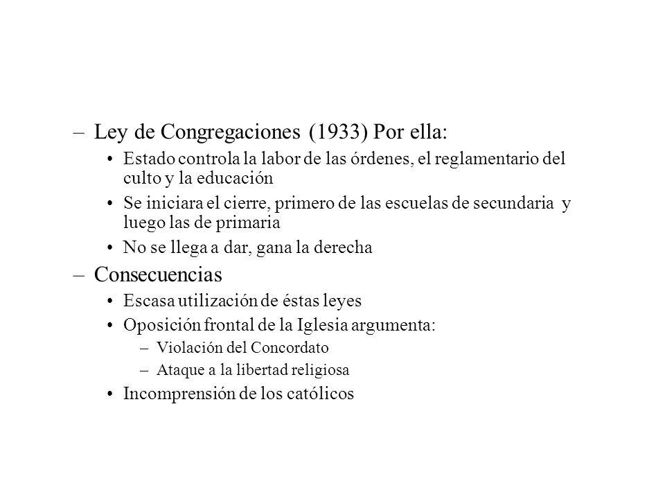 Ley de Congregaciones (1933) Por ella: