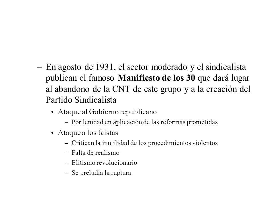 En agosto de 1931, el sector moderado y el sindicalista publican el famoso Manifiesto de los 30 que dará lugar al abandono de la CNT de este grupo y a la creación del Partido Sindicalista