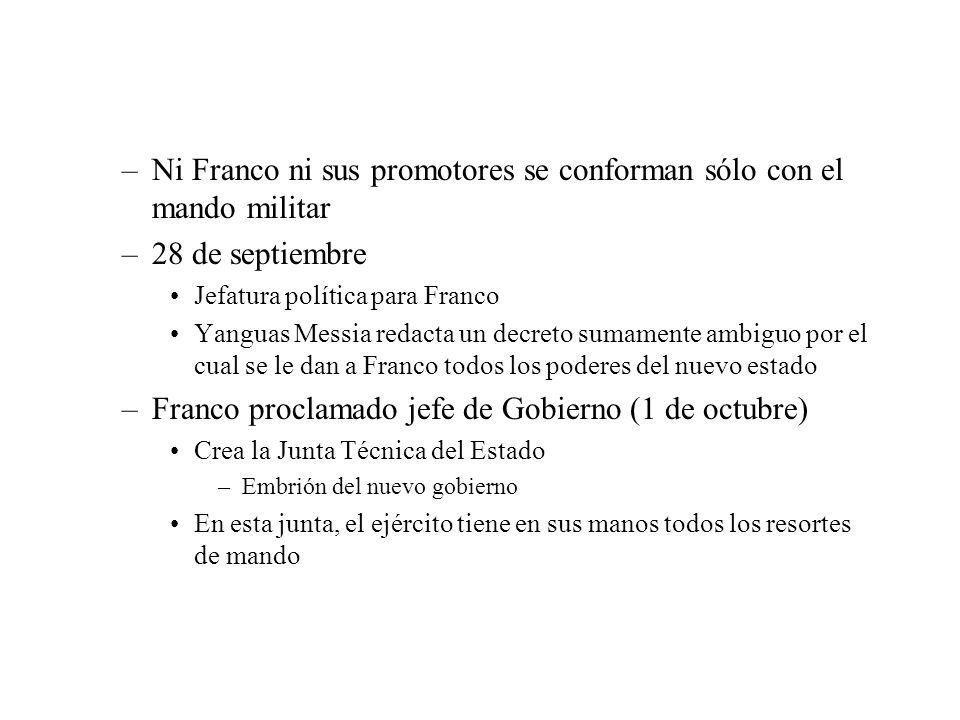 Ni Franco ni sus promotores se conforman sólo con el mando militar