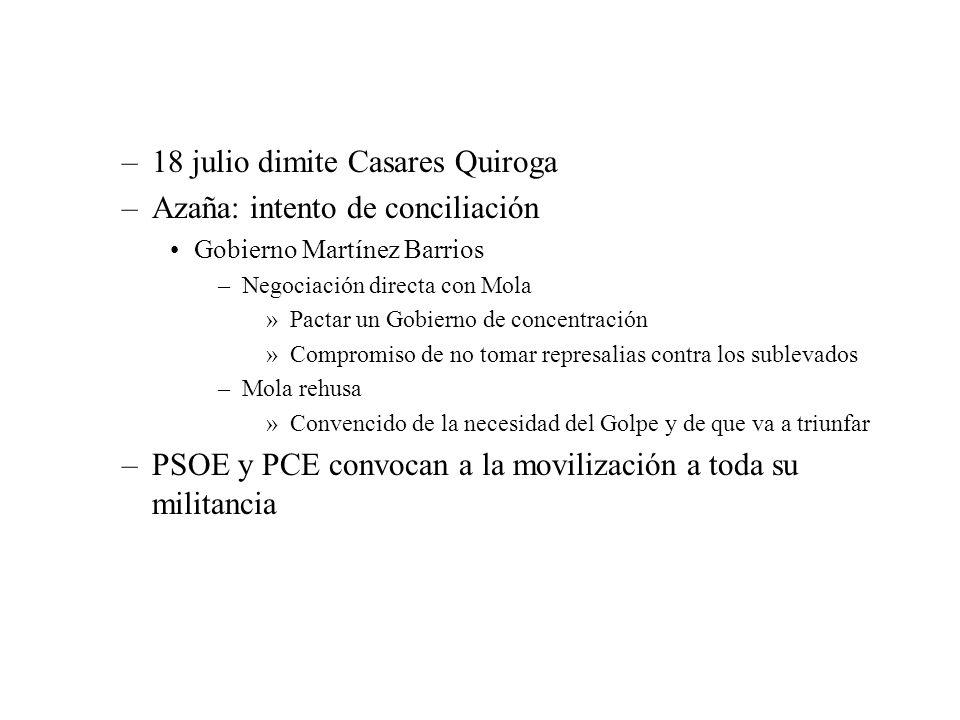 18 julio dimite Casares Quiroga Azaña: intento de conciliación