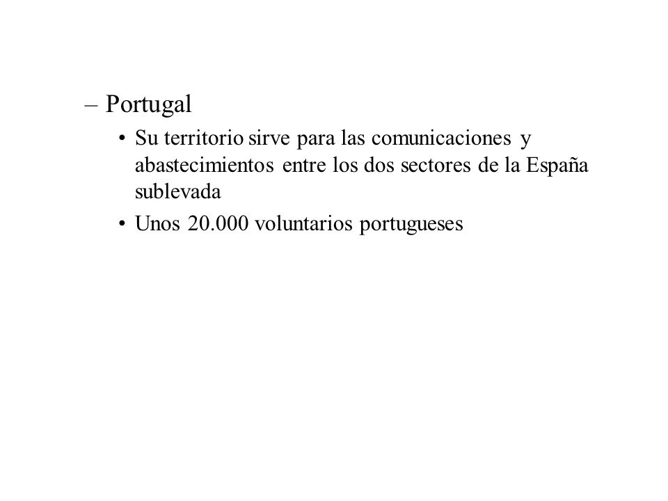 Portugal Su territorio sirve para las comunicaciones y abastecimientos entre los dos sectores de la España sublevada.