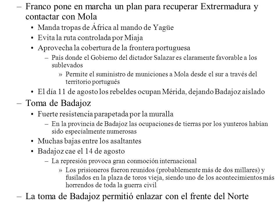 La toma de Badajoz permitió enlazar con el frente del Norte