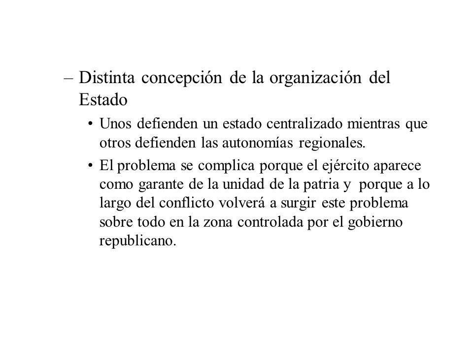 Distinta concepción de la organización del Estado