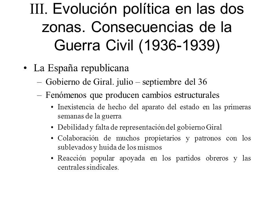 III. Evolución política en las dos zonas