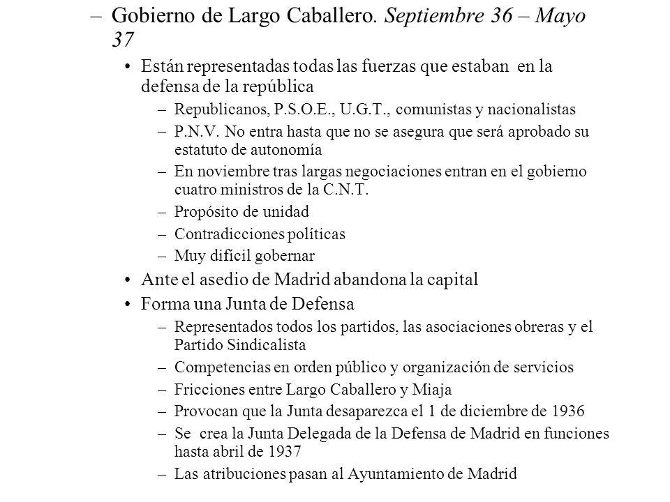 Gobierno de Largo Caballero. Septiembre 36 – Mayo 37