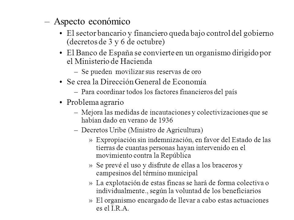 Aspecto económico El sector bancario y financiero queda bajo control del gobierno (decretos de 3 y 6 de octubre)