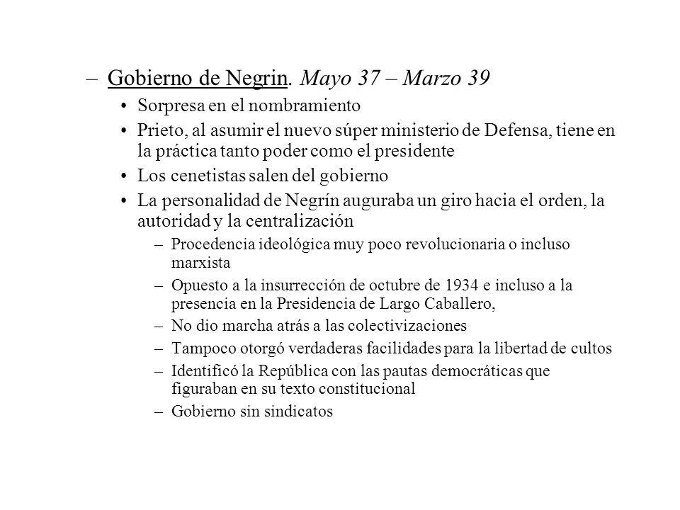 Gobierno de Negrin. Mayo 37 – Marzo 39