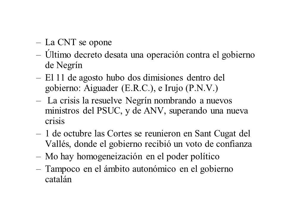 La CNT se opone Último decreto desata una operación contra el gobierno de Negrín.