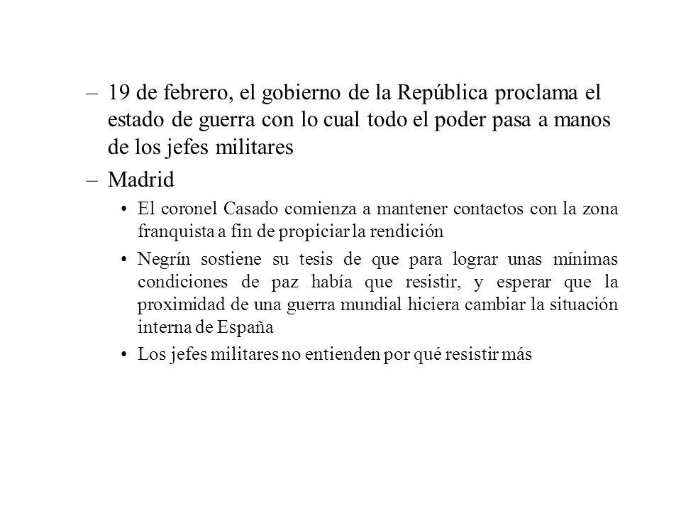 19 de febrero, el gobierno de la República proclama el estado de guerra con lo cual todo el poder pasa a manos de los jefes militares