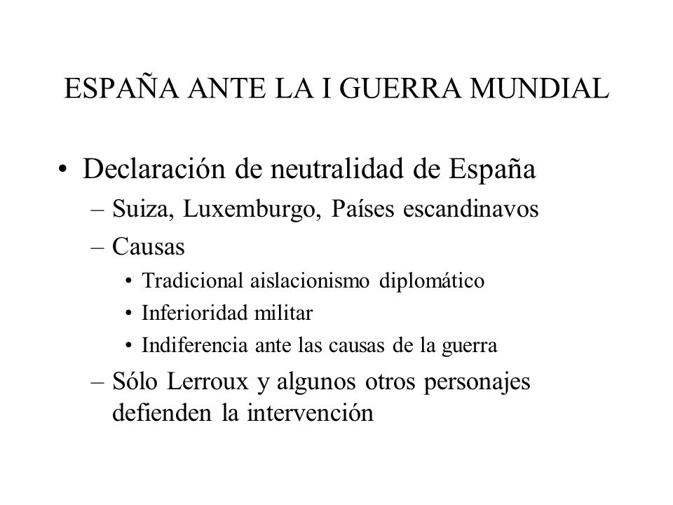 ESPAÑA ANTE LA I GUERRA MUNDIAL