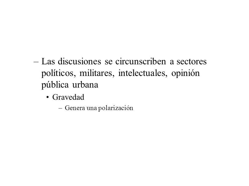 Las discusiones se circunscriben a sectores políticos, militares, intelectuales, opinión pública urbana