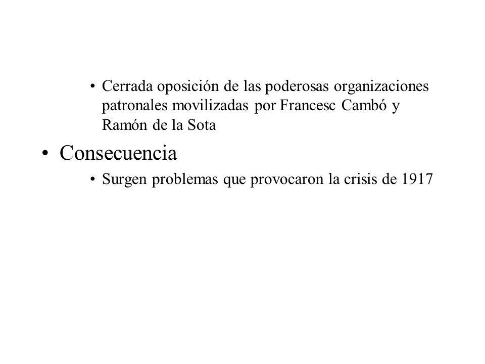 Cerrada oposición de las poderosas organizaciones patronales movilizadas por Francesc Cambó y Ramón de la Sota
