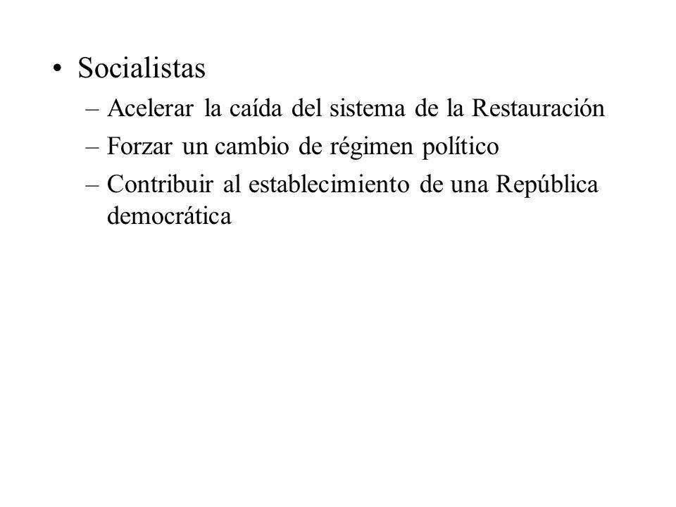 Socialistas Acelerar la caída del sistema de la Restauración