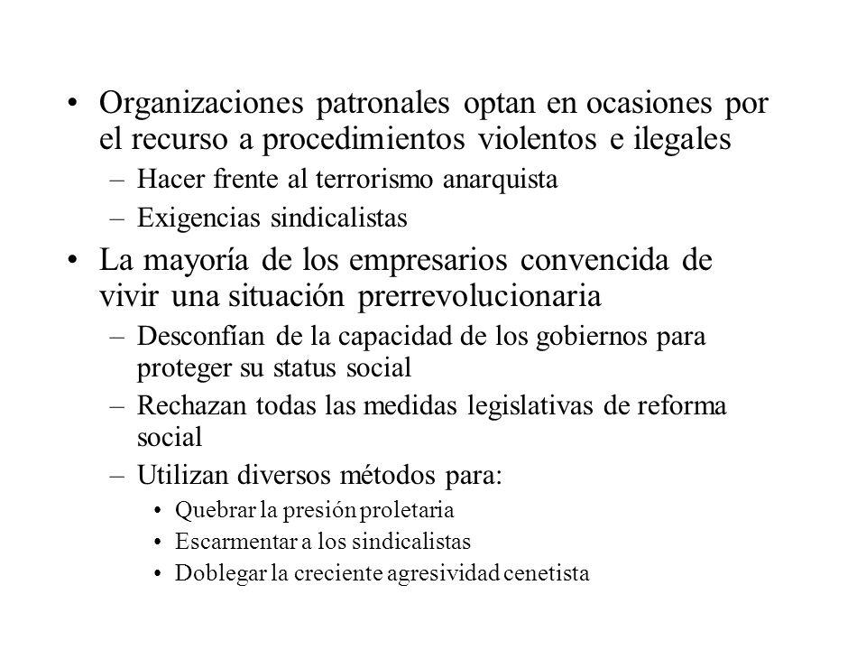 Organizaciones patronales optan en ocasiones por el recurso a procedimientos violentos e ilegales