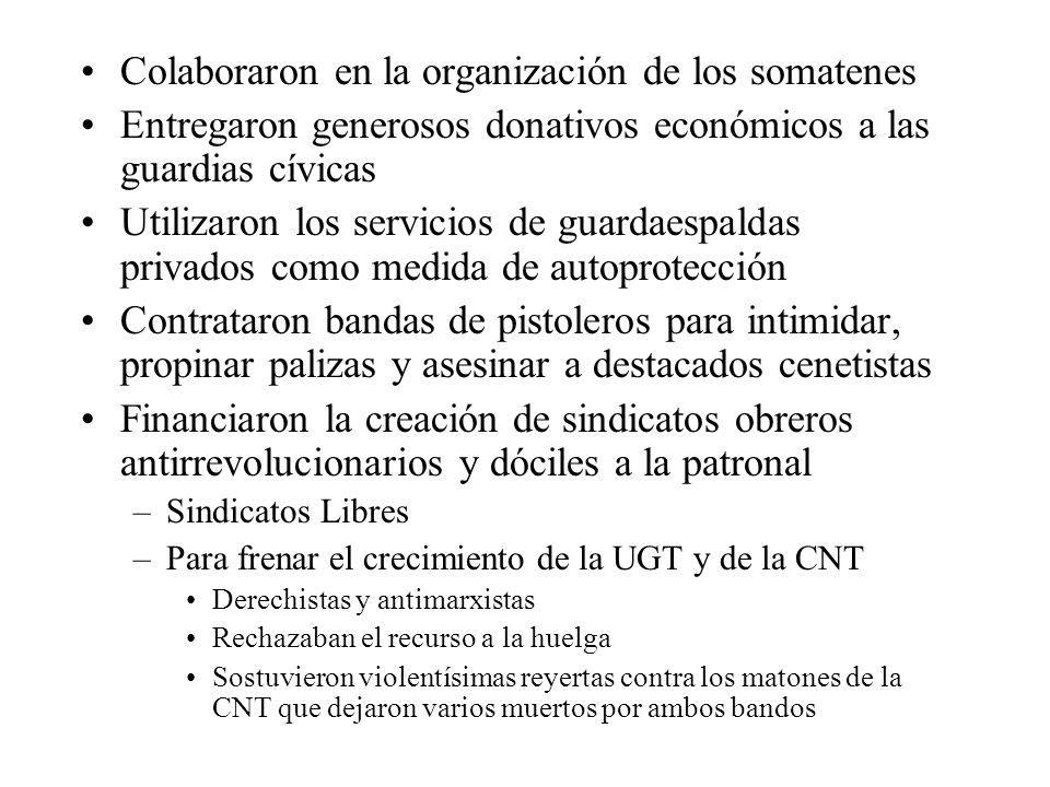 Colaboraron en la organización de los somatenes