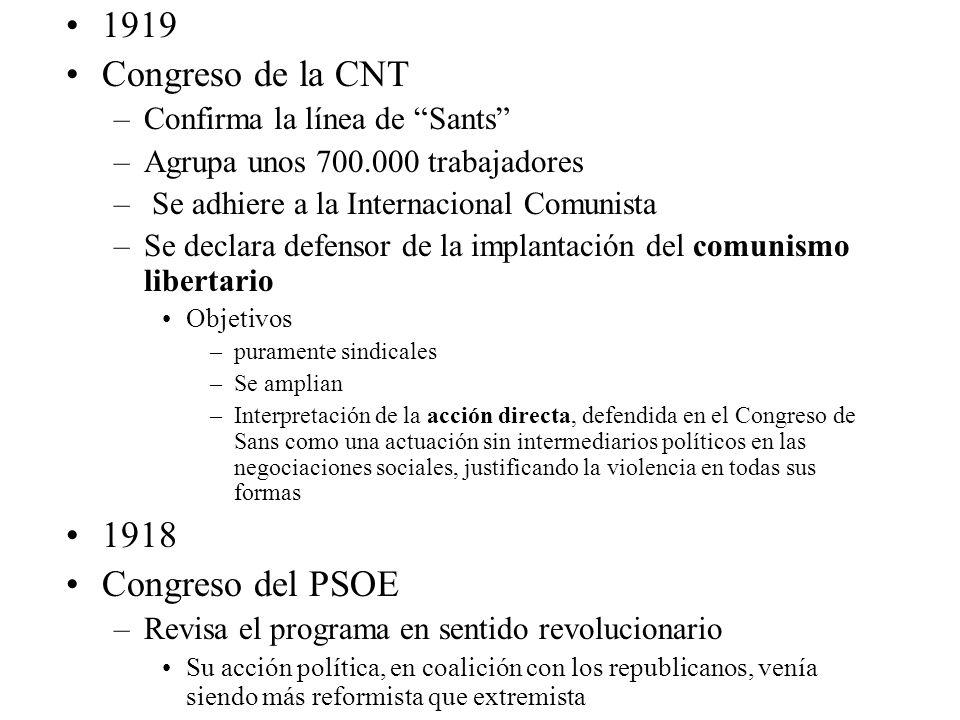 1919 Congreso de la CNT 1918 Congreso del PSOE