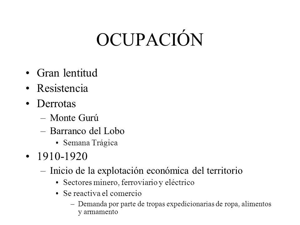 OCUPACIÓN Gran lentitud Resistencia Derrotas 1910-1920 Monte Gurú