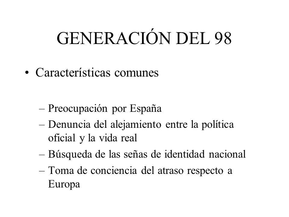 GENERACIÓN DEL 98 Características comunes Preocupación por España