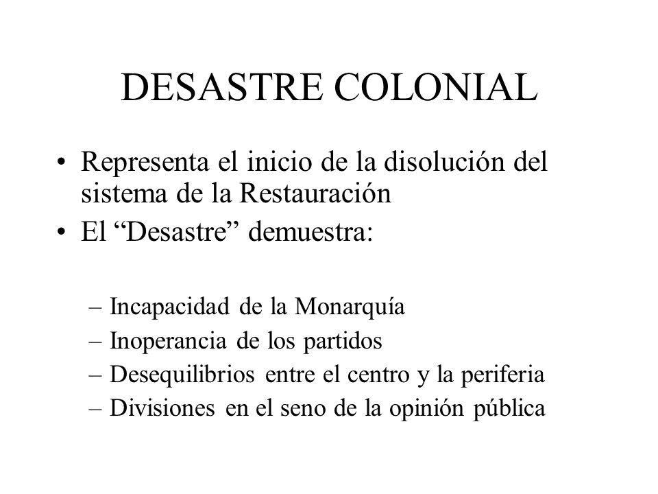DESASTRE COLONIAL Representa el inicio de la disolución del sistema de la Restauración. El Desastre demuestra: