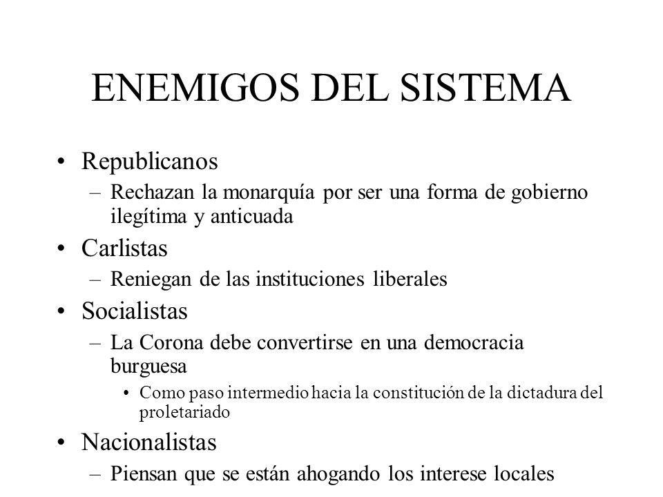 ENEMIGOS DEL SISTEMA Republicanos Carlistas Socialistas Nacionalistas