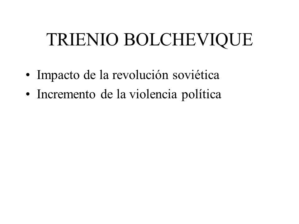 TRIENIO BOLCHEVIQUE Impacto de la revolución soviética