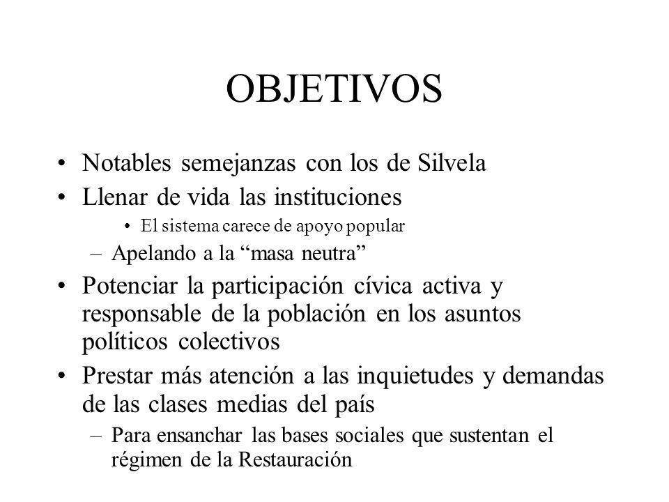 OBJETIVOS Notables semejanzas con los de Silvela