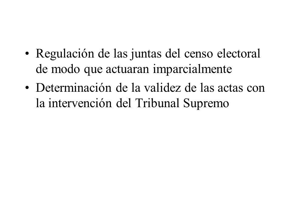 Regulación de las juntas del censo electoral de modo que actuaran imparcialmente