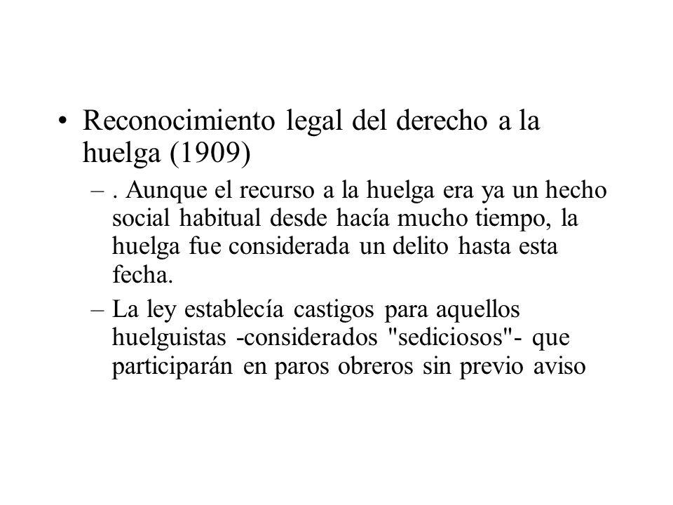 Reconocimiento legal del derecho a la huelga (1909)