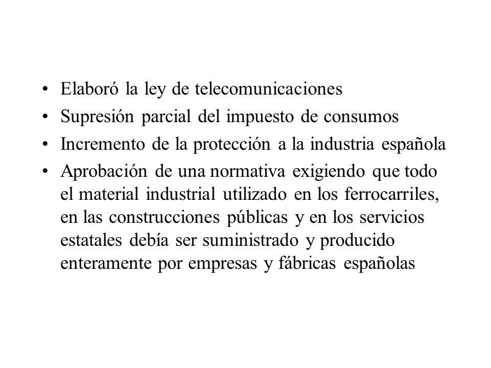 Elaboró la ley de telecomunicaciones