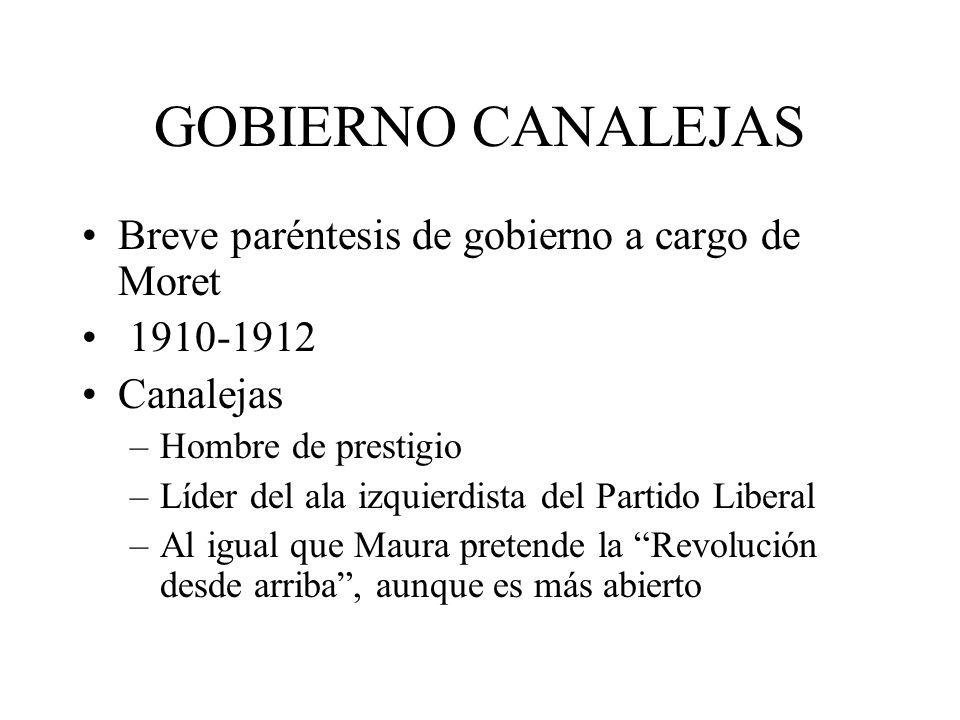 GOBIERNO CANALEJAS Breve paréntesis de gobierno a cargo de Moret