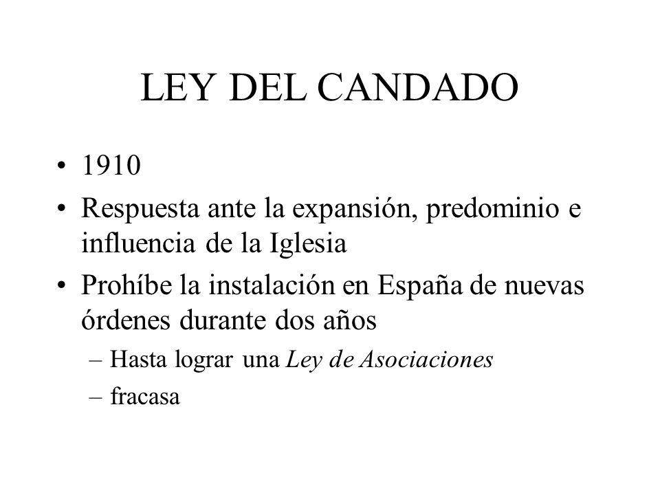 LEY DEL CANDADO 1910. Respuesta ante la expansión, predominio e influencia de la Iglesia.