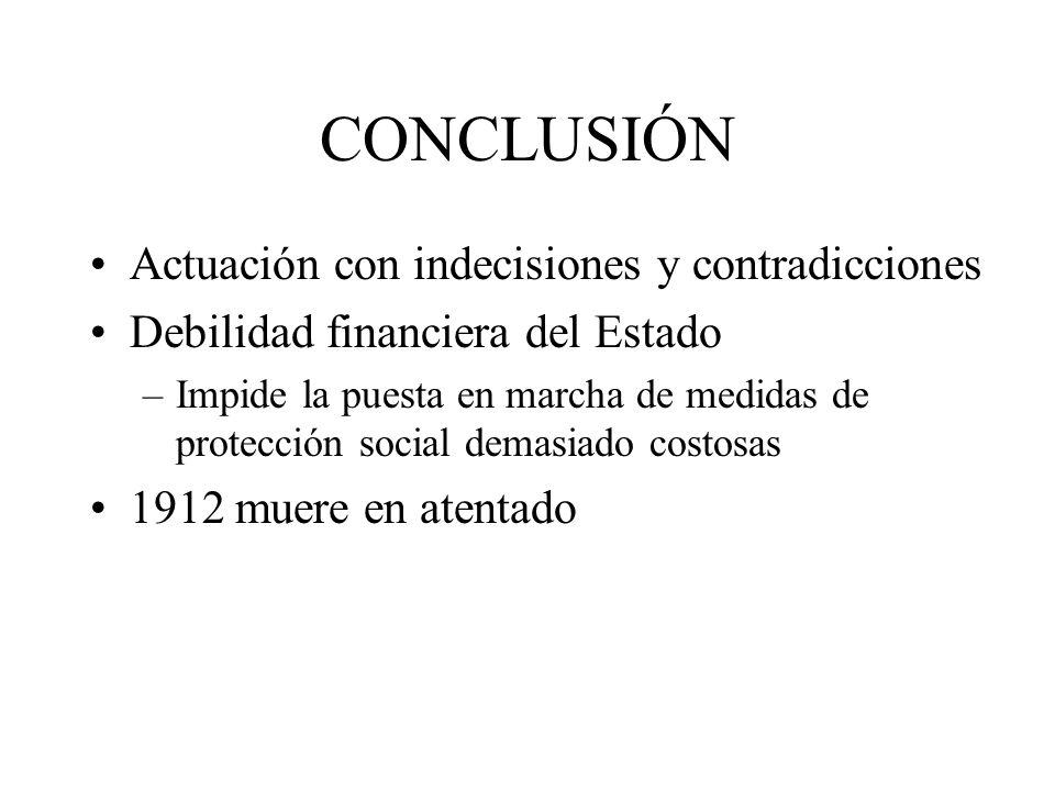 CONCLUSIÓN Actuación con indecisiones y contradicciones