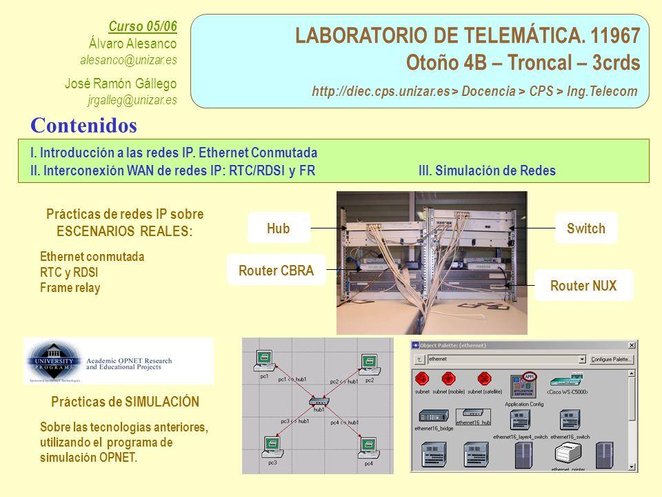 Prácticas de redes IP sobre ESCENARIOS REALES: Prácticas de SIMULACIÓN