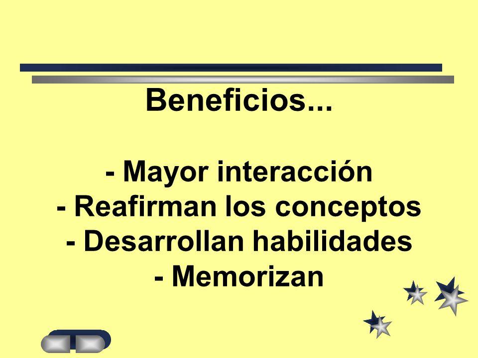 Beneficios... - Mayor interacción - Reafirman los conceptos - Desarrollan habilidades - Memorizan