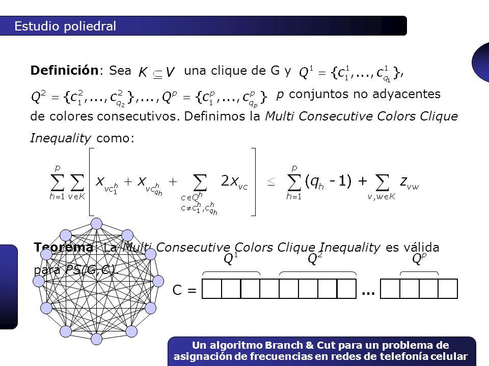 C = … Estudio poliedral Definición: Sea una clique de G y ,