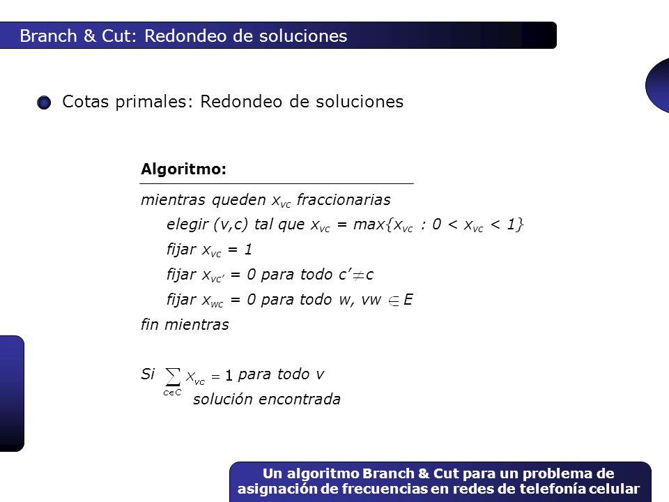Branch & Cut: Redondeo de soluciones