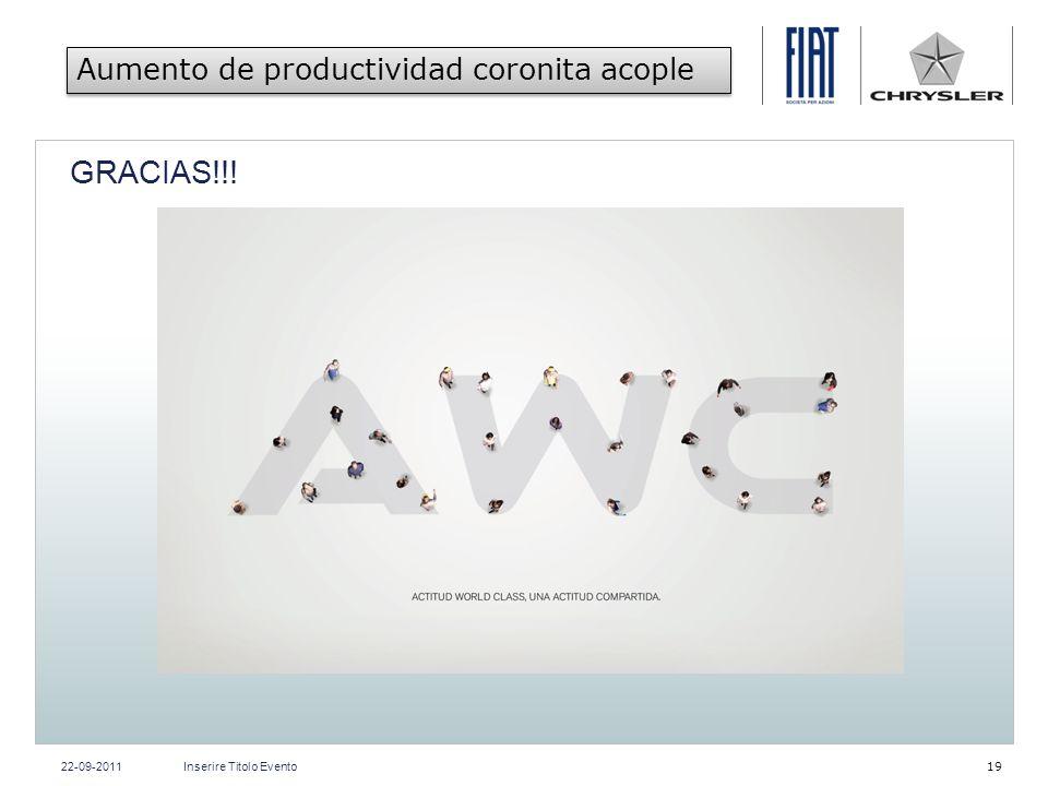 GRACIAS!!! Aumento de productividad coronita acople